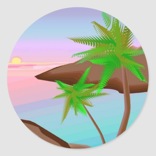 Tropical Island Sunset Sticker