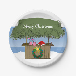 Tropical Island Tiki Hut Bar Merry Christmas Paper Plate