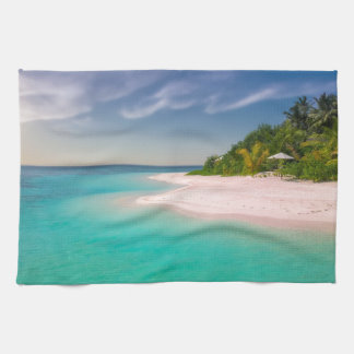 TROPICAL  ISLAND, TURQUOISE WATER, PINK SAND BEACH KITCHEN TOWELS