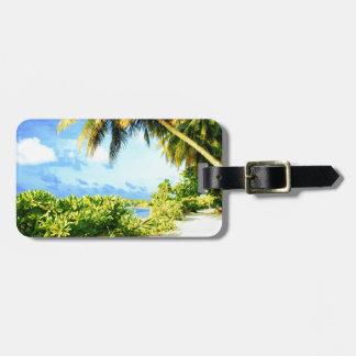 Tropical Island Walking Path Under Palm Trees Luggage Tag