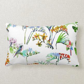 Tropical Island Watercolor Flowers & Birds Lumbar Pillow