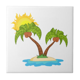 Tropical Island with Two Palm Trees Tile