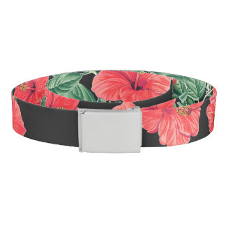 Tropical Islands Red Hibiscus Flowers Belt