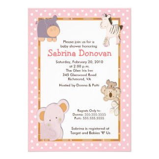 Tropical Jungle Animals 5x7 Baby Shower Invitation