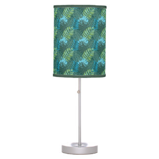 Tropical Jungle Leaf Pattern in Greens and Blues Table Lamp