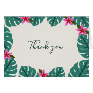 Tropical Jungle Leaf with Flowers Wed Thank You Card