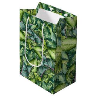Tropical Jungle Leaves Botanical Birthday Party Medium Gift Bag