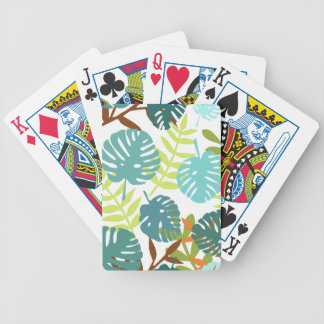 Tropical jungle with palm leaves bicycle playing cards