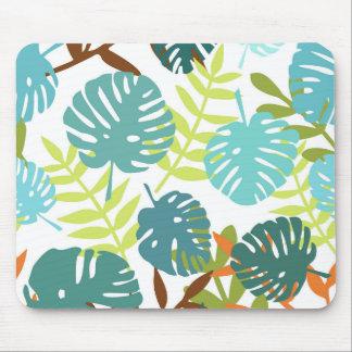 Tropical jungle with palm leaves mouse pad