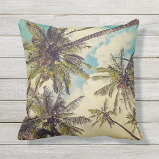 Tropical Kauai Palm Tree Print Outdoor Pillow