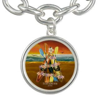 Tropical Kayak Christmas Tree on a sandy beach Charm Bracelet