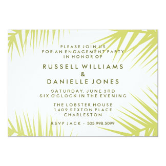 Tropical Khaki Green Palm Leaf Engagement Invite