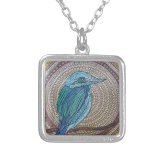 Tropical Kingfisher Silver Plated Necklace