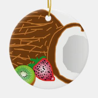 Tropical Kiwi Coconuts Ceramic Ornament