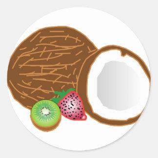 Tropical Kiwi Coconuts Classic Round Sticker