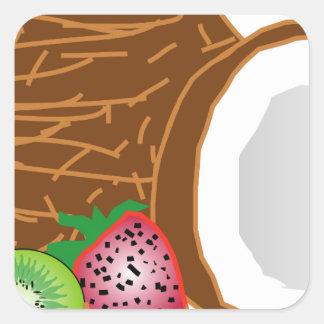 Tropical Kiwi Coconuts Square Sticker