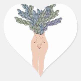 Tropical lady A Heart Sticker