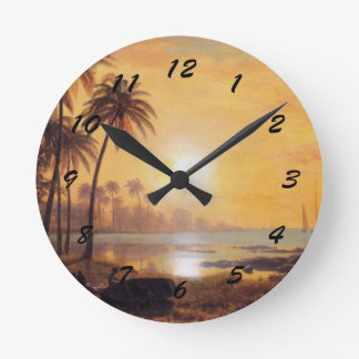 Tropical Landscape with Fishing Boats in Bay Round Clock