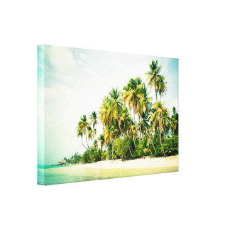 Tropical landscape with palm trees canvas print