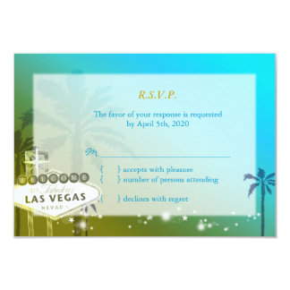 Tropical Las Vegas Strip Wedding RSVP (3.5x5) Custom Invitations