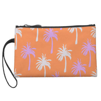 Tropical Lavender and Gray Palm Trees on Orange Wristlet Purse