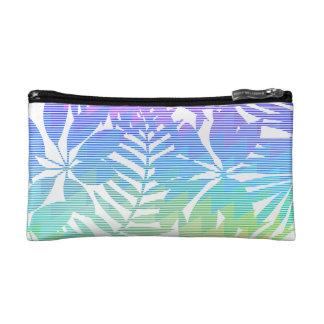 Tropical leaf chevron cosmetic bag