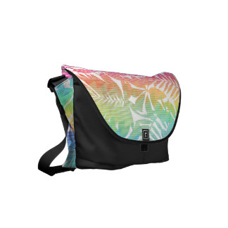Tropical leaf chevron courier bag