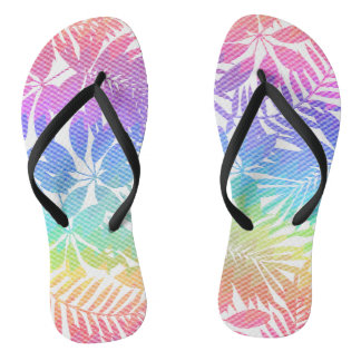 Tropical leaf chevron flip flops
