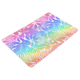 Tropical leaf chevron floor mat