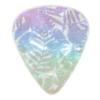 Tropical leaf chevron pearl celluloid guitar pick