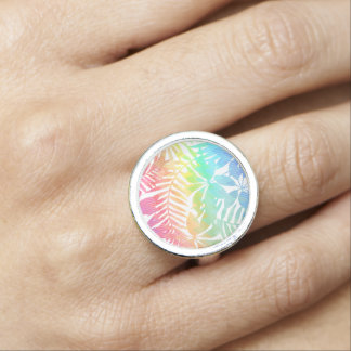 Tropical leaf chevron photo rings