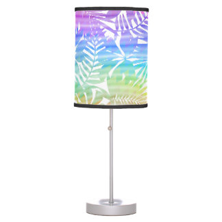 Tropical leaf chevron table lamp