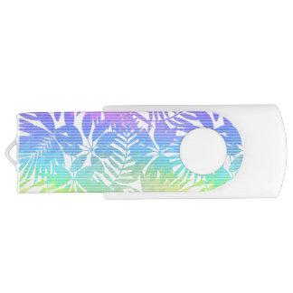 Tropical leaf chevron USB flash drive