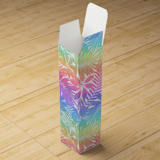 Tropical leaf chevron wine box
