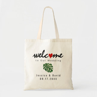 Tropical leaf destination wedding welcome bag