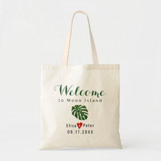 Tropical leaf destination wedding welcome script