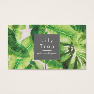 Tropical Leaf Fabric Texture Business Card