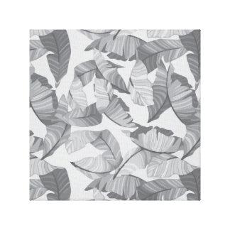 Tropical Leaf Grey Design Canvas Print
