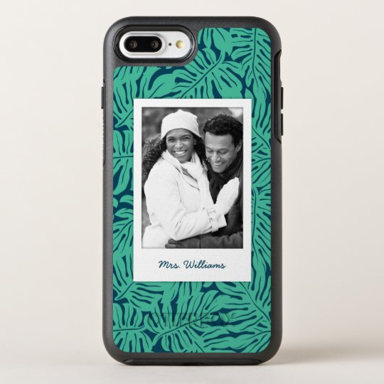 Tropical Leaf Pattern | Add Your Photo & Name OtterBox Symmetry iPhone 7 Plus Case
