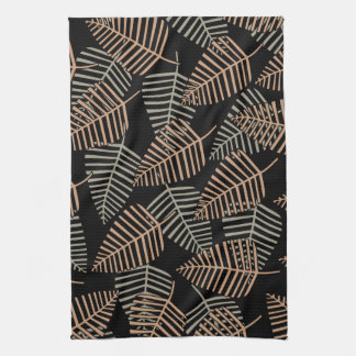 Tropical Leaf Pattern in Brown, Gray and Black. Kitchen Towel