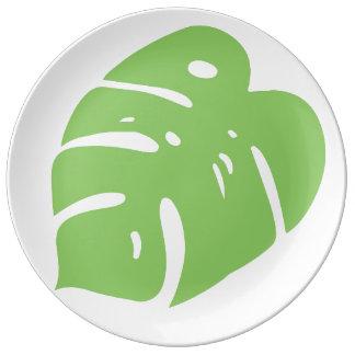 Tropical leaf porcelain plates