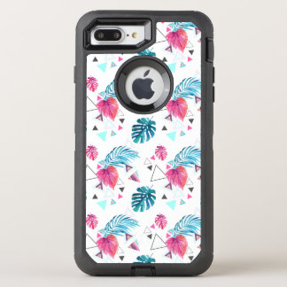 Tropical Leaf Triangle Pattern OtterBox Defender iPhone 8 Plus/7 Plus Case