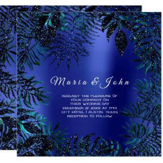 Tropical Leafs Glitter Garden Blue Teal Indigo Card