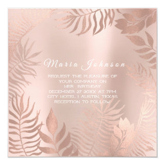 Tropical Leafs Palm Garden Blush Rose Pink Card