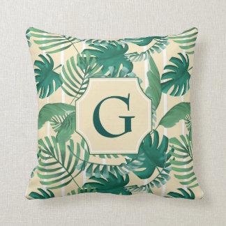 Tropical Leafy Print Monogram Pillow