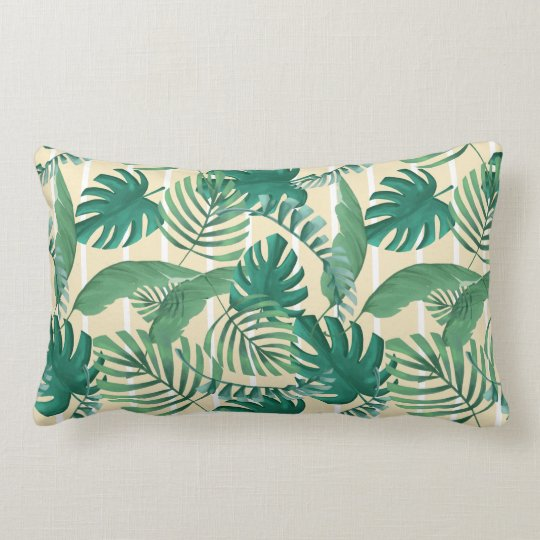 Tropical Leafy Print Pillow