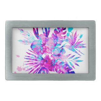 Tropical Leaves and Blossoms Rectangular Belt Buckle