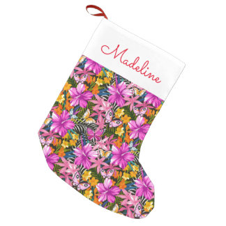 Tropical leaves and flowers | Add Your Name Small Christmas Stocking