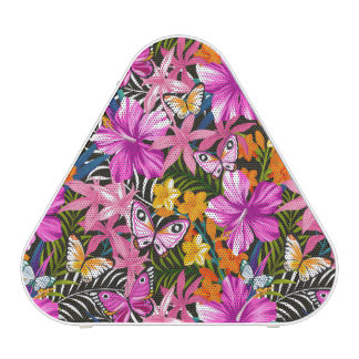 Tropical leaves and flowers blueooth speaker