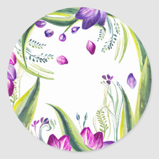 Tropical leaves and flowers for your home paper pl classic round sticker